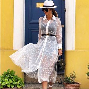 ZARA NWT White Tulle Dot Dress